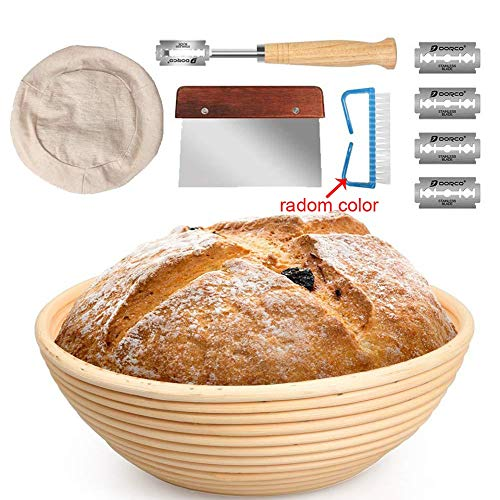 home  Bread Proofing Baskets 5PCS Bread Proofing Basket Beginner Set Rattan Bread Basket Arc Curved Knife Scraper Brush Danish Whisk Linen Color : Roud 5 pcs 1 Set