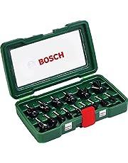 Bosch Set de 15 fresas de metal duro (para madera, vástago de 8 mm, accesorios para fresadora)