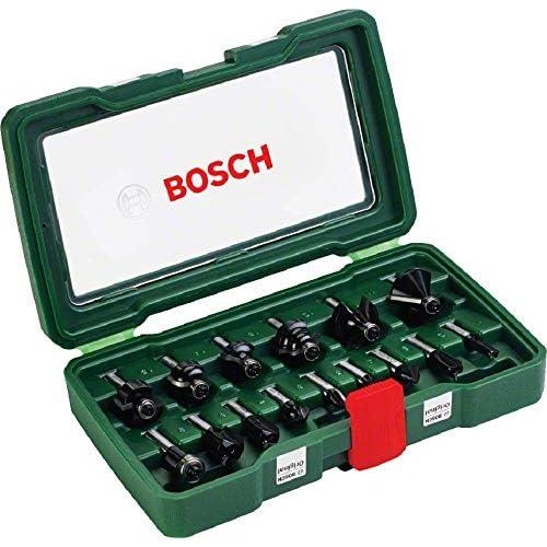 Bosch Set da 15 Pezzi di frese in metallo duro, per legno, Ø codolo 8 mm, accessorio fresatrice verticale