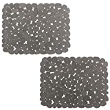 Yolife Kitchen Sink Mats, Adjustable for Stainless steel/Porcelain Sink, Dishes and Glassware,GRAY (2 Pack)