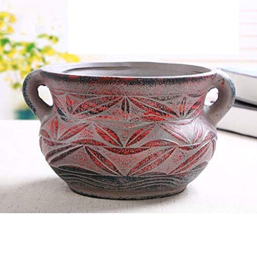 Hong Yi Fei-Shop Jarrón Rústico Planta suculenta Creativo Tiesto de cerámica Macetas, Medio Simple de gres Personalidad mediterránea Tiesto Tiesto Ronda jarrones Decorativos Modernos