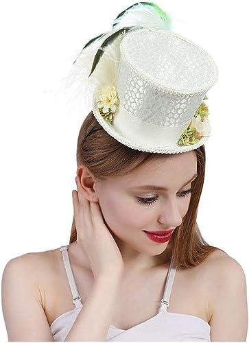 saludable KEZIO Mini sombrero de copa blanco for mujer, mini sombrero sombrero sombrero de copa, gorro de té Sombrero del té, sombrerero loco Sombrero nupcial, gorra Derby de Kentucky Sombrero visera de boomder.  para proporcionarle una compra en línea agradable