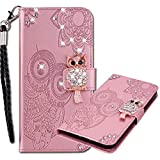 MRSTER iPhone 12 PRO Case, Flip PU Leather Wallet Phone Case with Wrist Strap Handmade Bling Diamond Protective Cover for Apple iPhone 12 / iPhone 12 PRO (6.1'). Owl Rose Gold