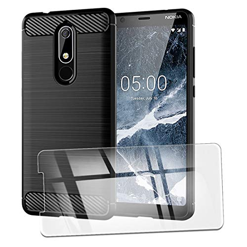 QFSM Custodia + 1 PCS Vetro Temperato per Nokia 5.1 Protettiva Nero Fibra di Carbonio TPU Anti-Knock Cover Case Black Silicone Shell with Vetro Pellicola Pellicola di Vetro Glass