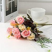 ウェディングブーケ 1束の造花の結婚式の花の花瓶寝室の家の装飾アクセサリー偽物バラの観賞用の植木鉢 永遠の花 (Color : 3)