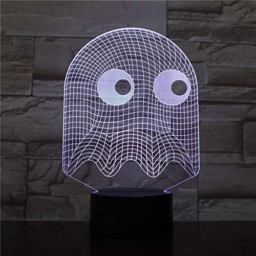 Lampara LED Videojuego Pac-Man Fantasma Cambia Color USB Luz nocturna y decoración