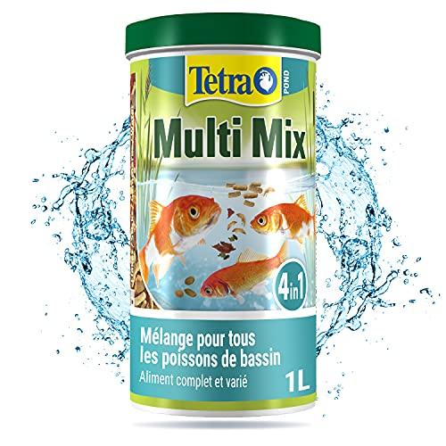 Tetra Pond Multi Mix – Alimentation Quotidienne pour Différentes Espèces de Poissons de Bassin - Mélange Complet d'Aliments : Flocon, Stick, Wafer, Gammarus - Favorise Vitalité et Energie - 1 L
