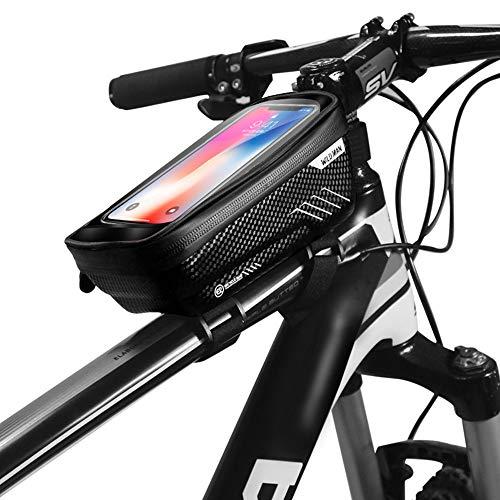 muqing Bolsa de marco de bicicleta impermeable con marco impermeable con pantalla táctil TPU (con agujero para auriculares) Adecuado para smartphones debajo de 6.5 pulgadas (negro)