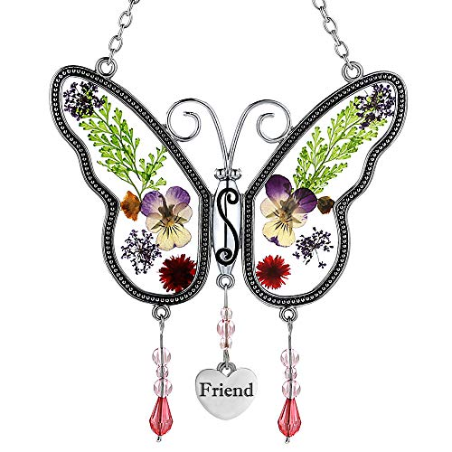 Friend Butterfly Sun Catchers Glass Suncatcher Friend Wind Chime with Pressed Flower Wings Embedded in Glass with Metal Trim Friend Heart Charm  Gifts for Mom Mom for Birthdays Christmas Friend