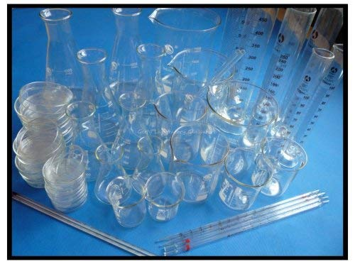 GOWE Laboratorium Lab Glaswerk Kit, Pyrex Glas Materiaal (Beaker, Erlenmeyer Flask, Meetcilinder, Petri Schaal, Thermometer)