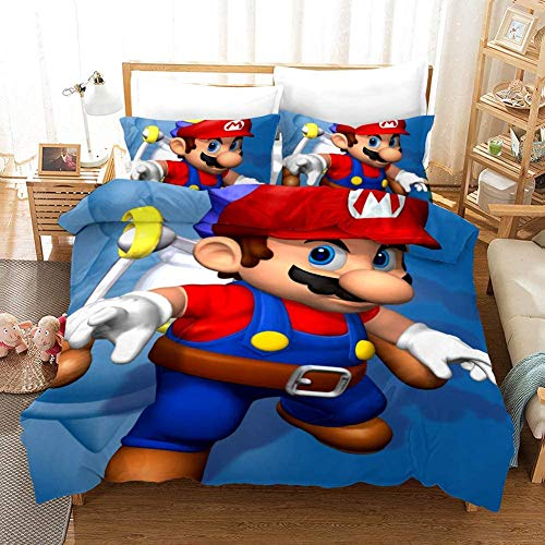 HLSM Mario Game Children's Bedding Set,Super Mario Microfibre Duvet Cover Bed Set Teen Girls Boys 3D Galaxy Printed Quilt Cover and Pillow Case Merchadise for Kids (C06,Single 135x200cm)