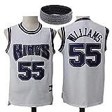 GWCASA Mens Williams Reyes 55 Bordado Camisa de Uniforme de Baloncesto, Jugador de Baloncesto Jersey Tipo Chaleco, Unisex Malla de poliéster Jersey White-XL