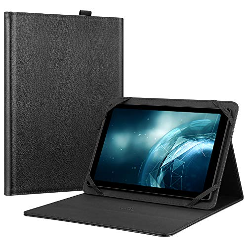 Fintie Universal 10 inch Tablet Case - Multiple Angles Viewing Portfolio Stand Cover with Stylus Loop Compatible with 9.7' - 10.2' Touchscreen Tablet, Black