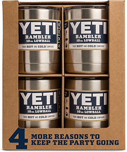 YETI Rambler 10 oz Lowball, Vacuum Insulated, Stainless Steel with Standard Lid, Stainless