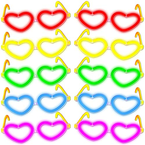 10 Knicklichter Herzbrillen FARBMIX | wieder verwendbar | Komplettset | Premiumqualität