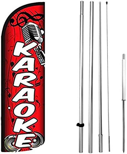 Daily bargain sale Karaoke - Windless Swooper Flag Kit Feather rq-h Sign Tulsa Mall Set Banner