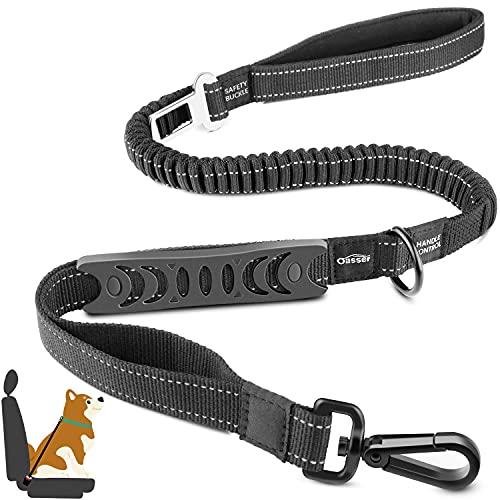 Oasser Cinturón de Seguridad para Perro de Coche para Mascota Hebilla de Fijación Cuerda Cuerda de Tracción para Uso en Exteriores Cuerda Elástica de Alta Resistencia con Mango Freno Reflectante E5