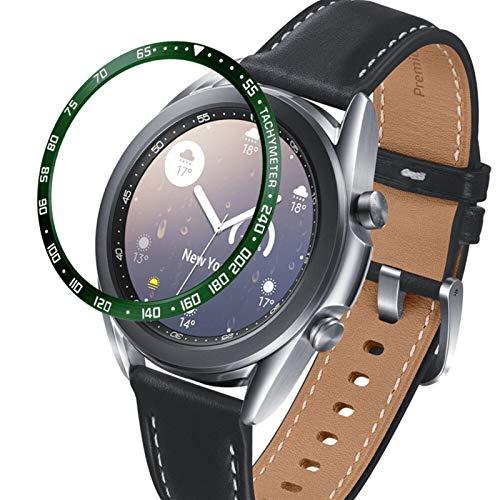 PZZZHF Para Samsung Galaxy Watch 3 41 mm 45 mm bisel anillo cubierta protectora adhesivo anti arañazos bisel de acero inoxidable (color de la correa: verde militar, ancho de la correa: 45 mm)
