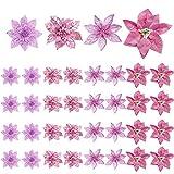 Paquete de 36 flores para decoración de árboles de Navidad,flor de pascua artificial ros...