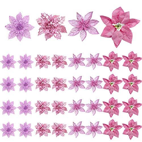 Fiori di decorazione per albero di Natale, confezione da 36 Poinsettia artificiale rosa glitterata Fiori di Natale Ornamenti per alberi di Natale per decorazioni natalizie per ghirlande natalizie