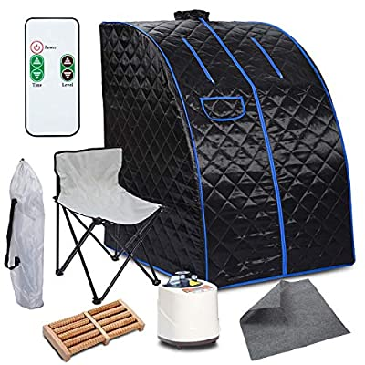 Paddie Portable Steam Sauna 2L Folding Private Sauna Tent 9 Adjustable Temperature Levels W/Remote Control Chair Foot Massage Roller Absorbent Pad for Weight Loss Stress Fatigue