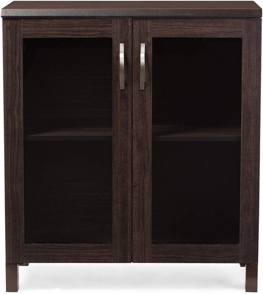 Amazon Com Baxton Studio Wholesale Interiors Sintra Sideboard Storage Cabinet With Glass Doors Dark Brown Buffets Sideboards