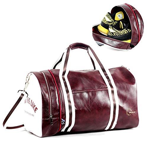 Vohoney Sporttasche,Sport Gym Tasche Wasserdicht Reisetasche Weekender Trainingstasche Fitnesstasche mit Schuhfach Herren Damen Großen Kapazität(Sporttasche Reisetasche Rot)