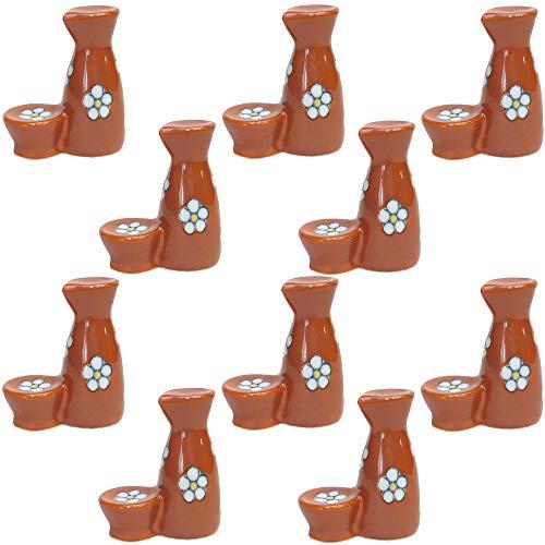 10個セット 箸置 散らし梅(赤)徳利型箸置 [4 x 2 x 4.8cm] 【料亭 旅館 和食器 飲食店 業務用 器 食器】
