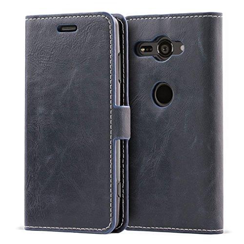 Mulbess Handyhülle für Sony Xperia XZ2 Compact Hülle Leder, Sony Xperia XZ2 Compact Handy Hüllen, Flip Handytasche Schutzhülle für Sony Xperia XZ2 Compact Hülle, Navy Blau