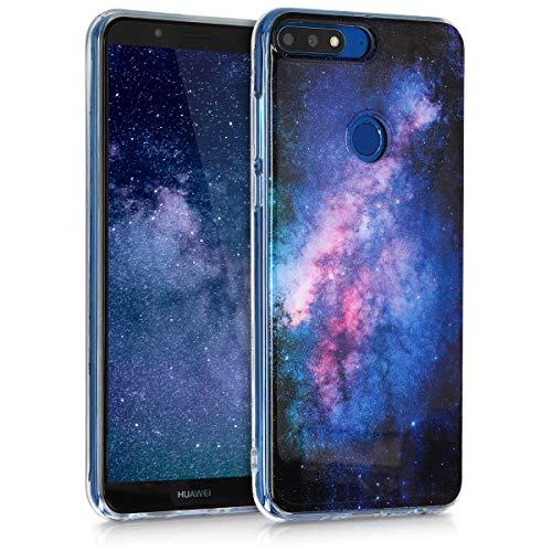 kwmobile Hülle kompatibel mit Huawei Y7 (2018)/Y7 Prime (2018) - Handyhülle - Handy Hülle Galaxie Sterne Rosa Pink Dunkelblau