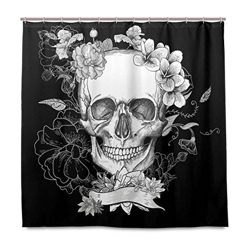 shinesnow Badezimmer Dusche Vorhang Tag der Toten Totenkopf und Blumen Design Haltbarer Stoff Bad Vorhänge Schimmelresistent Wasserdicht Badezimmer mit 12Haken 183,0cm x183,0cm