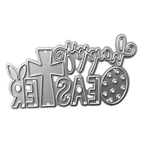 Kcibyvx Stanzschablone Frohe Ostern Kaninchen,Prägeschablonen Stanzformen Schablonen für Scrapbooking, Fotopapier, Karten,DIY Herstellung Das Erntedankfest Ostern Geburtstag Neujahrsgeschenk
