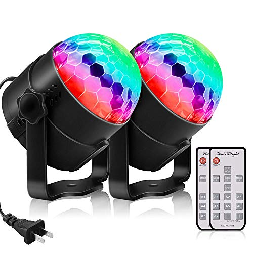 Mirror Ball, Stage Light, LED, Disco Ball Light, Stage Lighting, RGB Color Changing, Voice Activation, Remote Control, For Birthdays, Weddings, Parties, KTV, Karaoke, Bar Lighting, Stage Light, Set of 2