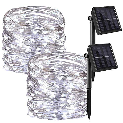 Solar String Lights Outdoor 2 Pack Each 72FT 200 LED Super Durable Bright Waterproof Copper Wire Fairy Lights for Garden Patio Yard Party Treehouse Festival Wedding Christmas Tree Decorations Sliver