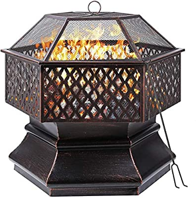 Femor Fire Bowl, 76 x 76 x 63 cm, 30 Inch Hexagonal Fire Pit, Garden, Fire Basket with Grill Grate, Spark Guard Grate, Poker & Charcoal Grate, for Heating/BBQ, Fire Bowls for the Garden, Beach, Patio from Femor