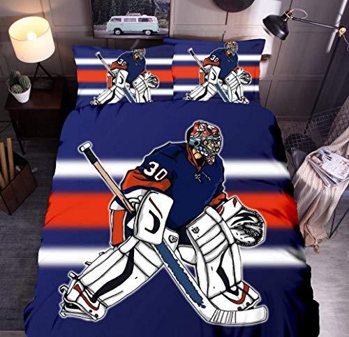 Sallypan Eishockey Bettbezug-Set, Hockey-Spieler-Sport-Muster Bettwäsche-Set mit Kissen Shams für Mädchen-Jungen Teen Kinderzimmer Dekorative,10,135 * 200cm2piece