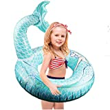 Happytime Cute Mermaid Tail Pool Float 30 Inches Cute Mermaid Inflatable Pool Float Swimming Ring Summer Party Beach Lounge Lilos for Kids…