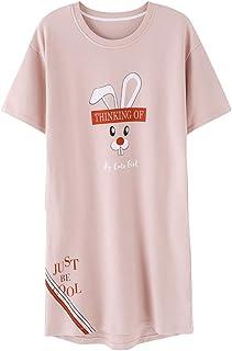 HEMERA.SETSU パジャマ ワンピース レディース 夏 半袖 ルームワンピース ネグリジェ 綿100% 部屋着 ルームウェア 寝間着 かわいいウサギ柄 清新 ピンク
