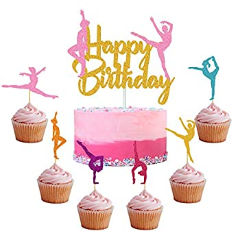 Gymnastics Cake Topper Gymnast cupcake Topper for Gymnastics Themed Baby Girl Happy Birthday Party Supplies Colorful Sparkle Decorations 30+1 Pack