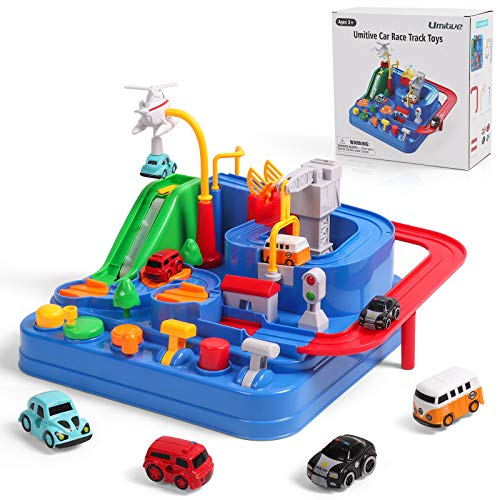 Umitive Pista de Coches para Niños, Cars Juguetes de Aventura Playsets con Ciudad Rescate Pista, Juegos Interactivos Montessori Educativo para Niños 3 4 5 6 7 8 años (Small)