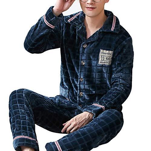 CIDCIJN Pijama Hombre Mangas Largas Set,Hombres Pijamas Cálidos Pijamas Hombres Franela Invierno...