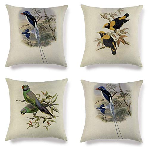 JgZATOA Cushion Cover Retro Parrot Living Room Sofa Pillow Cases Bed Pillow Case Office Coffee Cushion 45 X 45Cm Set Of 4