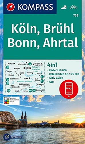 KOMPASS Wanderkarte Köln, Brühl, Bonn, Ahrtal: 4in1 Wanderkarte 1:50000 mit Aktiv Guide und Detailkarten inklusive Karte zur offline Verwendung in der ... (KOMPASS-Wanderkarten, Band 758)