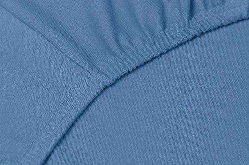 #21 Double Jersey Jersey Spannbettlaken, Spannbetttuch, Bettlaken, 160x200x30 cm, Jeans Blau - 7