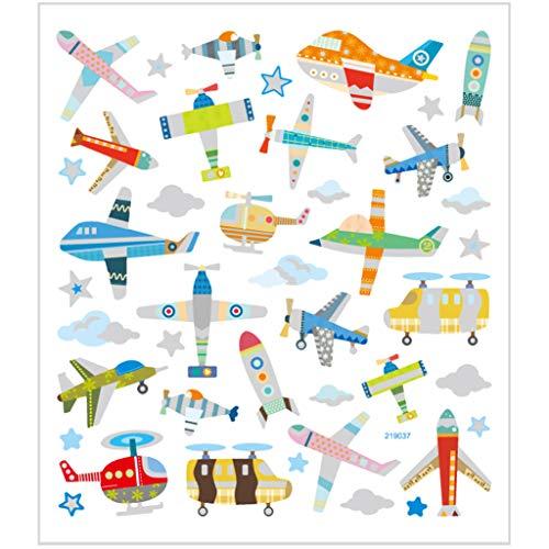 Sticker, Blatt 15x16,5 cm, 42 Stck, Flugzeuge & Hubschrauber, 1Bl.