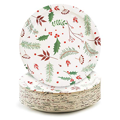Party Paper Plates, 50-Pack Disposable Paper Plates Christmas Party Supplies, Christmas Holly Design, 9-Inch Dinner Plates