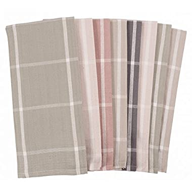 KAF Home Striped Kitchen Towels | Set of 8, 100% Pure Cotton, 16  x 26  Kitchen Towels | Absorbent, Soft, Fun, and Beautiful Kitchen Towels | Perfect Splash of Fashion in Any Kitchen (Neutrals)