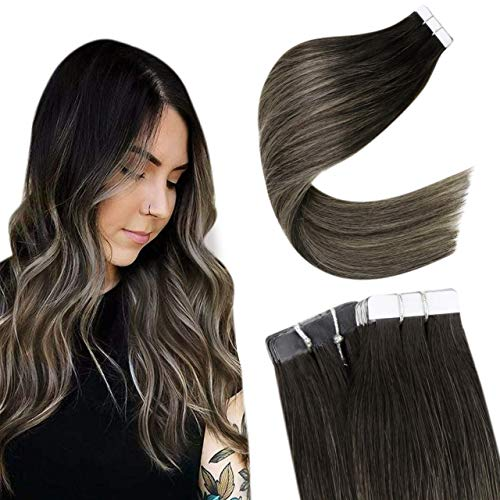 Easyouth Remy Tape in Hair Extensions Cheveus Naturel Couleur Off Black to Honey Blonde Tape in Real Hair Extensions Balayage Bande Adhesive Extension