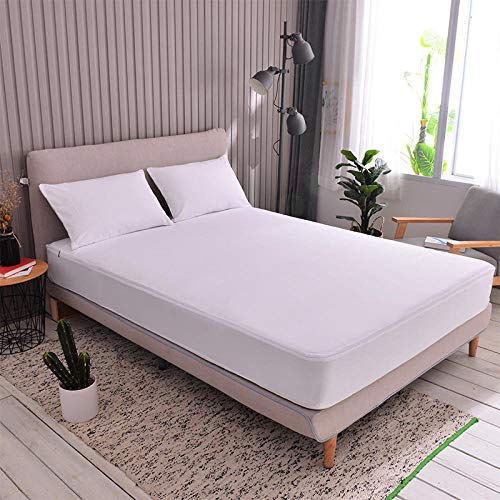 JRDTYS Super Soft Warm and Cosy Fitted Bed SheetAll-inclusive bed sheet solid color one-piece zipper type-Pure white_150x200+15
