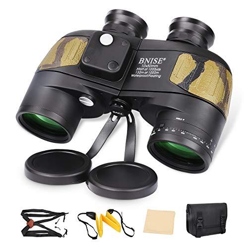 BNISE 10x50 Marine Binoculars for Adults, Waterproof Fogproof BAK4 Prism FMC Lens Binoculars with Illuminated Compass and Range Finder for Bird Watching, Hunting, Navigation, Boating, Fishing